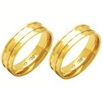 Alianças de casamento e noivado diamantada em ouro 18k 750 6 mm