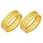 Alianças de casamento e noivado em ouro 18k 750 trabalhadas 6 mm