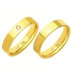 Alianças de casamento e noivado em ouro 18k 750 com pedra tradicional 4.5 mm