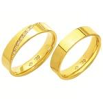 Alianças de casamento e noivado em ouro 18k 750 com pedras e anatômica 4,5 mm
