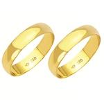 Alianças de casamento e noivado em ouro 18k 750 tradicional 4,5 mm