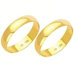 Alianças de casamento e noivado em ouro 18k 750 tradicional 4 mm