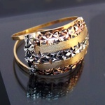 Anel de ouro 3 cores largo