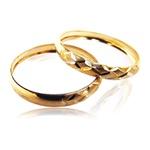 Par Aparador de Aliança de Ouro para noivado e casamento Xadrez 2 peças