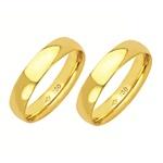 Alianças de casamento e noivado em ouro 18k 750 abaulada e anatômica 4,5 mm