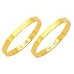 Alianças de casamento e noivado em ouro 18k 750 tradicional reta 2 mm