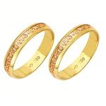 Alianças bodas de ouro em ouro amarelo e ouro vermelho 18k 750 4.2 mm