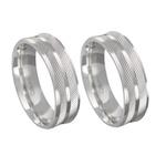 Alianças de compromisso em prata 950 trabalhadas 6 mm