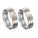 Alianças de compromisso em prata 950 trabalhada com fios de ouro e pedra 6 mm