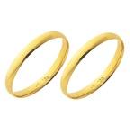 Alianças de casamento e noivado em ouro 18k 750 anatômicas 2 mm
