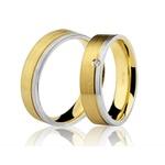 Alianças de casamento e noivado em ouro 18k 750 trabalhadas fosca com diamante 2 tons 5.5 mm
