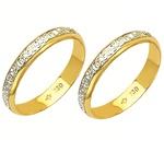 Alianças bodas de prata em ouro branco e amarelo 18k 750 3,6 mm