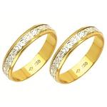 Alianças bodas de prata em ouro amarelo e ouro branco 18k 750 4 mm