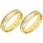 Alianças bodas de prata anatômico em ouro amarelo e ouro branco 18k 750 5 mm