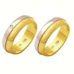 Alianças de casamento e noivado em ouro 18k 750 trabalhadas com diamante 2 tons 6,20 mm