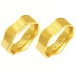 Alianças de casamento e noivado em ouro 18k 750 trabalhadas com diamantes 7 mm