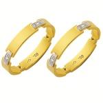 Alianças de casamento e noivado em ouro 18k 750 com diamantes trabalhadas 2 tons 3.5 mm