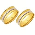 Alianças de casamento e noivado em ouro 18k 750 2 tons trabalhadas com diamantes 7.00 mm