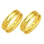Alianças de casamento e noivado anatômica com frisos em ouro 18k 750