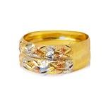 Anel de Ouro 3 Cores Duplo em Ouro Amarelo, Branco e Vermelho