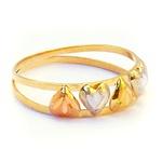 Anel de Ouro 18k 5 corações amarelo, branco e vermelho