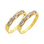 Par de Aparador de Aliança para noivado e casamento com diamantes 02 tons em ouro 18k 750
