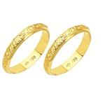 Alianças de casamento e noivado em ouro 18k 750 trabalhadas 3.6 mm