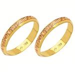 Alianças bodas de ouro em ouro vermelho e amarelo 18k 750 3,6 mm
