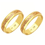 Alianças bodas de ouro em ouro vermelho e amarelo 18k 750 5 mm