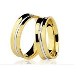Alianças de casamento e noivado em ouro 18k 750 côncavo 2 tons com diamante 6.00 mm
