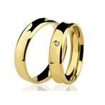 Alianças de casamento e noivado em ouro 18k 750 côncavo com diamante 6.00 mm