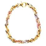 Pulseira de Ouro Meticulosa com Ouro branco, vermelho e amarelo