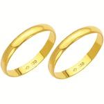 Alianças de casamento e noivado em ouro 18k 750 tradicional 2,50 mm