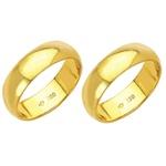 Alianças de casamento e noivado em ouro 18k. 750 tradicional 6 mm