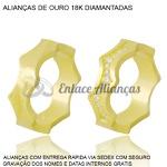 par de alianças de ouro 18k personalizadas com diamantes