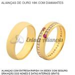 par de alianças de ouro 18k com diamantes e rubis