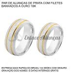 Par de Alianças de Prata com filetes banhados a ouro 18k