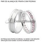 Par de Alianças de Prata 0,950 com pedras rosas