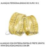 Alianças de Ouro 18 k personalizada com nomes