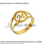 Anel de Ouro 18 k persolanizado com letra M