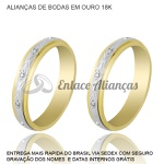 Alianças de bodas de Prata com diamantes em ouro 18 k