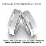 PAR DE ALIANÇAS DE PRATA COM ZIRCONIA