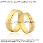Alianças de Ouro 18 k com Diamantes