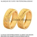 Alianças de Ouro 18 k comdesenho de pneu
