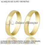 Alianças de Ouro 18 k Reta
