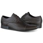 Sapato Social Derby Cap Toe em Couro Legítimo com Cadarço