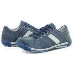 Sapatênis Masculino Casual Em couro Legitimo Palmilha Gel- Sola trekking Azul Ref:3000
