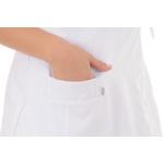 Jaleco Feminino Acinturado Transpassado em Microfibra Gola V Sem Manga Branco Plus Size