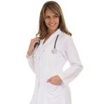 Jaleco Feminino Plus Size Acinturado 100% Algodão Manga Longa Branco - Botão de pressão