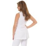 Jaleco Feminino Acinturado em Oxford Gola V sem manga Branco